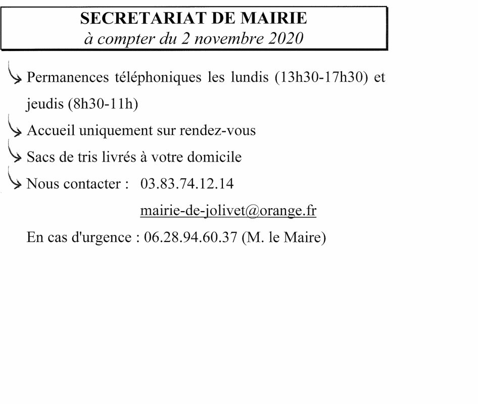 Mairie horaire covid